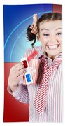 Overjoyed Nerd Woman At 3d Movie Premier Bath Towel