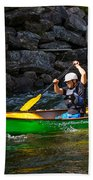 Paddler In A Whitewater Canoe Bath Towel