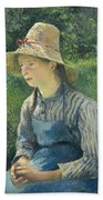 Peasant Girl With A Straw Hat Bath Towel