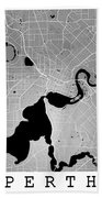 Perth Street Map - Perth Australia Road Map Art On Colored Backg Bath Towel