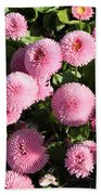 Pink Button Pom Flowers Bath Towel