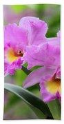 Pink Orchids Bath Towel