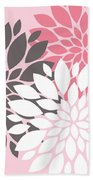 Pink White Grey Peony Flowers Bath Towel