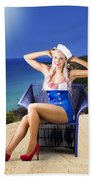 Pinup Woman On A Tropical Beach Travel Tour Bath Towel