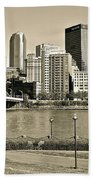 Pittsburgh In Sepia Bath Towel
