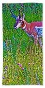 Pronghorn Among Wildflowers In Custer State Park-south Dakota Bath Towel