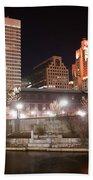 Providence Rhode Island Skyline At Night Bath Towel