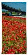 Red Poppy Field Near Highway Road Bath Towel