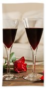 Red Wine And Roses Bath Towel