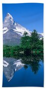 Reflection Of A Snow Covered Mountain Bath Towel