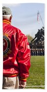 Retired Marine Paying Respect Bath Towel