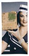 Retro Maritime Portrait. Woman In Sailor Fashion Bath Towel