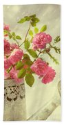 Roses In Watering Can Bath Towel
