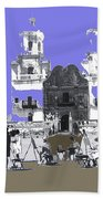 San Xavier Mission Sketched By Art Students C. 1930 Tucson Arizona Bath Towel