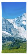 Scenic View Of Eiger And Monch Mountain Bath Towel