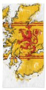 Scotland Painted Flag Map Bath Towel