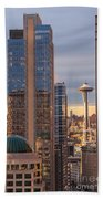 Seattle Space Needle Golden Sunset Light Bath Towel
