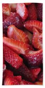 Sliced Strawberries Hand Towel