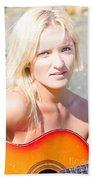 Smiling Female Guitarist Bath Towel