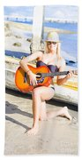Smiling Girl Strumming Guitar At Tropical Beach Bath Towel