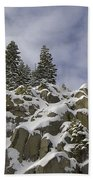 Snow Covered Cliffs And Trees Bath Towel