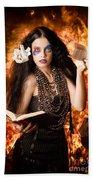 Sorcerer Casting Black Magic Spells Of Fire Bath Towel