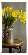 Still Life With Yellow Tulips Bath Towel