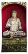 Stone Statue Of Buddha In Bali Indonesia Bath Towel