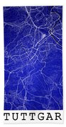 Stuttgart Street Map - Stuttgart Germany Road Map Art On Colored Bath Towel