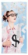 Successful Female Business Superhero Winning Money Bath Towel