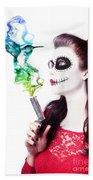 Sugar Skull Girl Blowing On Smoking Gun Bath Towel
