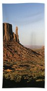 Sunset Light With Mittens And Desert In Monument Valley Arizona  Bath Towel