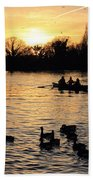 Sunset On The Thames At Walton Bath Towel