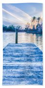 Sunset Over Lake Wylie At A Dock Bath Towel