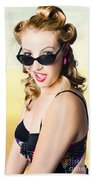 Surprised Pinup Girl On Tropical Beach Background Bath Towel