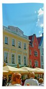 Town Square In Old Town Tallinn-estonia Bath Towel