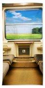 Travel In Comfortable Train. Bath Towel