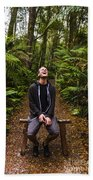 Travel Man Laughing In Tasmania Rainforest Bath Towel
