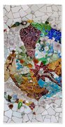 Trencadis Mosaic In Park Guell In Barcelona Hand Towel