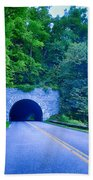 Tunnel Through Mountains On Blue Ridge Parkway In The Morning Bath Towel