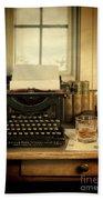 Typewriter And Whiskey Bath Towel