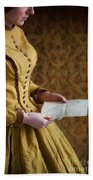 Victorian Woman Reading A Love Letter Bath Towel