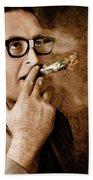 Vintage Business Man Smoking Money In Success Bath Towel