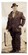 Vintage Traveling Business Man Bath Towel