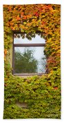 Wall Overgrown With Fall Colored Vine And Ivy Bath Towel