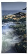 Waves Crashing Against The Shore In Acadia National Park Bath Towel