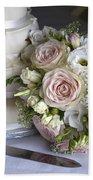 Wedding Bouquet And Cake Bath Towel