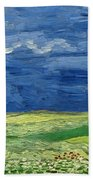 Wheatfield Under Thunderclouds Bath Towel