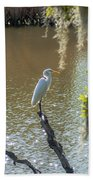 White Heron In Magnolia Cemetery Bath Towel