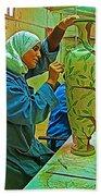 Woman Artisan At Mosaic School In Madaba In Jordan  Bath Towel